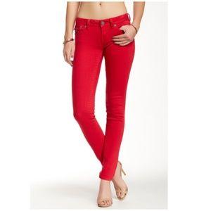 MEK Bright Red Toldedo Denim Fitted Skinny Jean 26